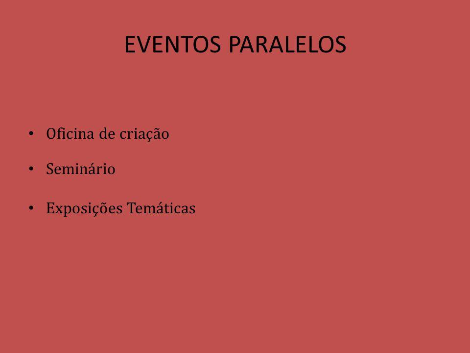 EVENTOS PARALELOS Oficina de criação Seminário Exposições Temáticas