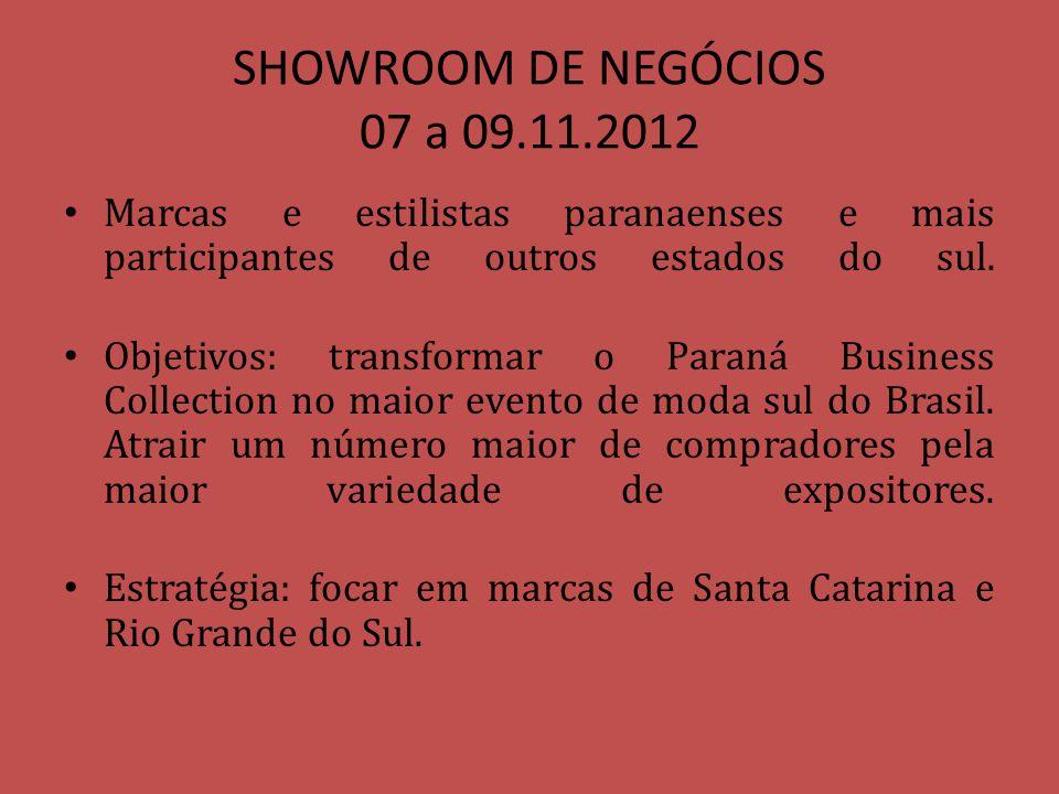 SHOWROOM DE NEGÓCIOS 07 a 09.11.2012 Marcas e estilistas paranaenses e mais participantes de outros estados do sul. Objetivos: transformar o Paraná Bu