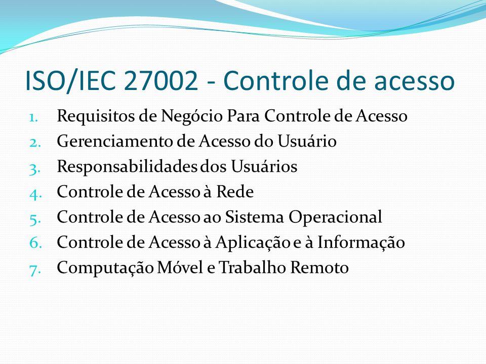 ISO/IEC 27002 - Controle de acesso 1. Requisitos de Negócio Para Controle de Acesso 2. Gerenciamento de Acesso do Usuário 3. Responsabilidades dos Usu