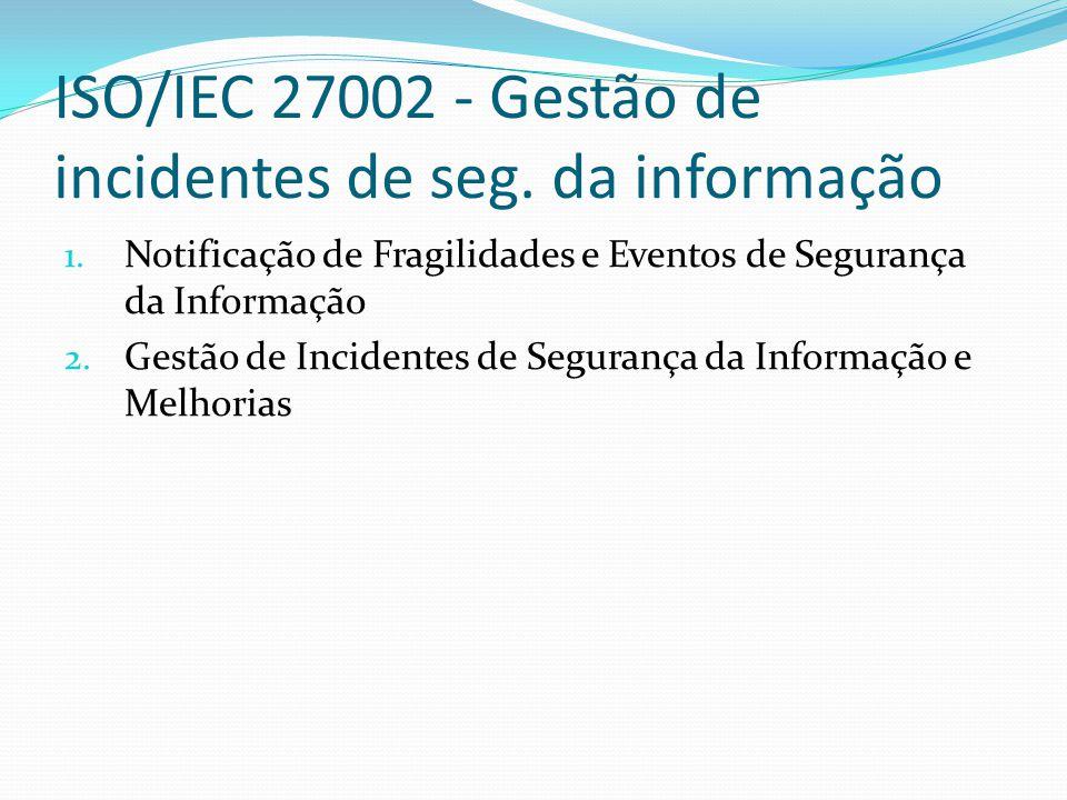 ISO/IEC 27002 - Gestão de incidentes de seg. da informação 1. Notificação de Fragilidades e Eventos de Segurança da Informação 2. Gestão de Incidentes