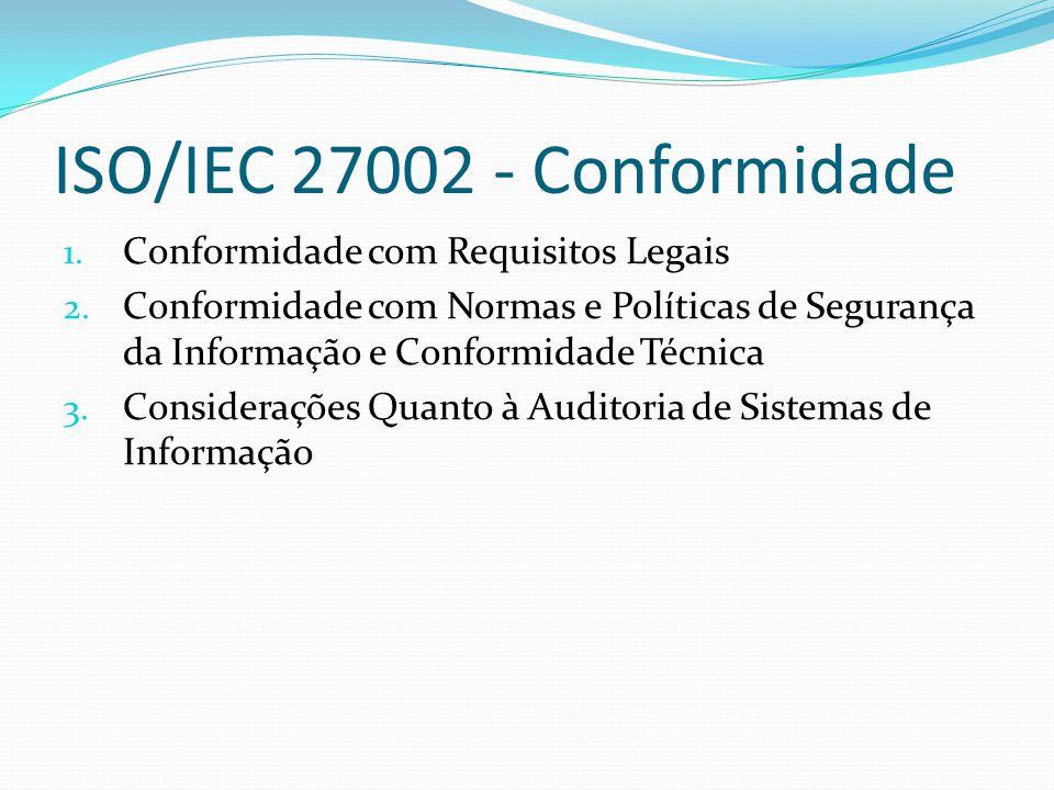 Normas ISO/IEC da série 27000 de Segurança da Informação ISO/IEC 27000:2009 - Sistema de Gerenciamento de Segurança - Explicação da série de normas, objetivos e vocabulários; ISO/IEC 27001:2005 - Sistema de Gestão de Segurança da Informação - Especifica requerimentos para estabelecer, implementar, monitorar e rever, além de manter e provisionar um sistema de gerenciamento completo.