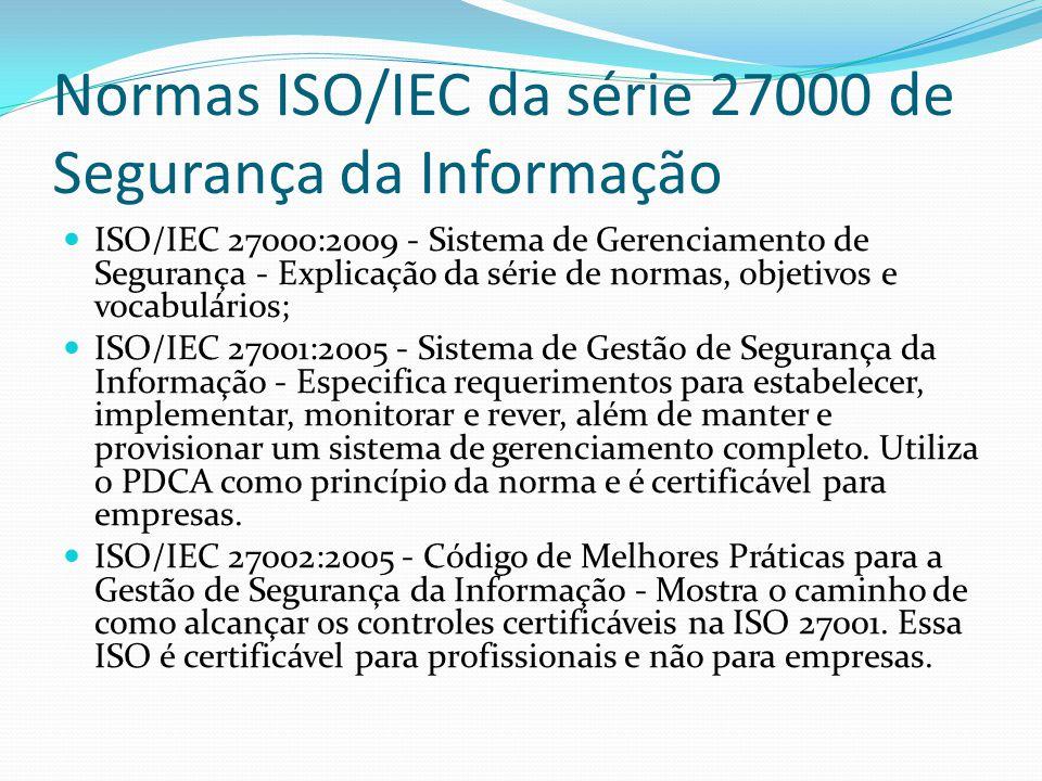 Normas ISO/IEC da série 27000 de Segurança da Informação ISO/IEC 27003:2010 - Diretrizes para Implantação de um Sistema de Gestão da Segurança da Informação - Segundo a própria ISO/IEC 27003, O propósito desta norma é fornecer diretrizes práticas para a implementação de um Sistema de Gestão da Segurança da Informação (SGSI), na organização, de acordo com a ABNT NBR ISO/IEC 27001:2005.