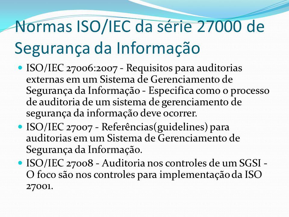 Normas ISO/IEC da série 27000 de Segurança da Informação ISO/IEC 27010 - Gestão de Segurança da Informação para Comunicações Inter Empresariais- Foco nas melhores formas de comunicar, acompanhar, monitorar grandes incidentes e fazer com que isso seja feito de forma transparente entre empresas particulares e governamentais.