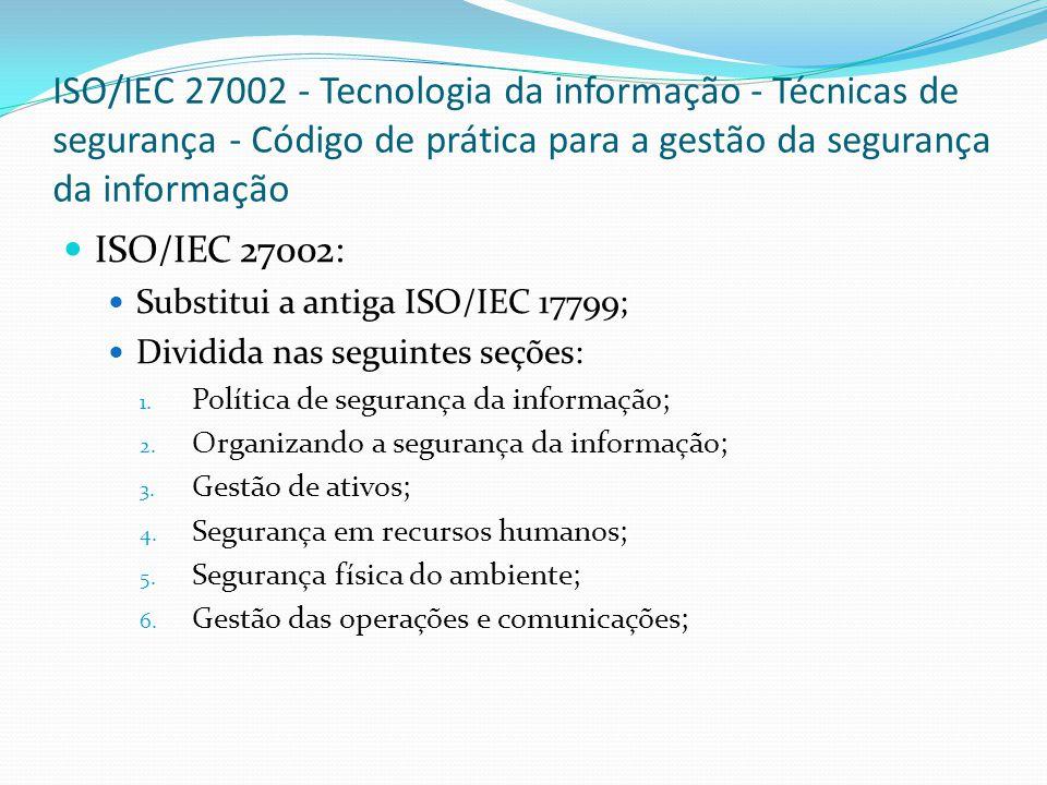 ISO/IEC 27002 - Tecnologia da informação - Técnicas de segurança - Código de prática para a gestão da segurança da informação ISO/IEC 27002: Substitui