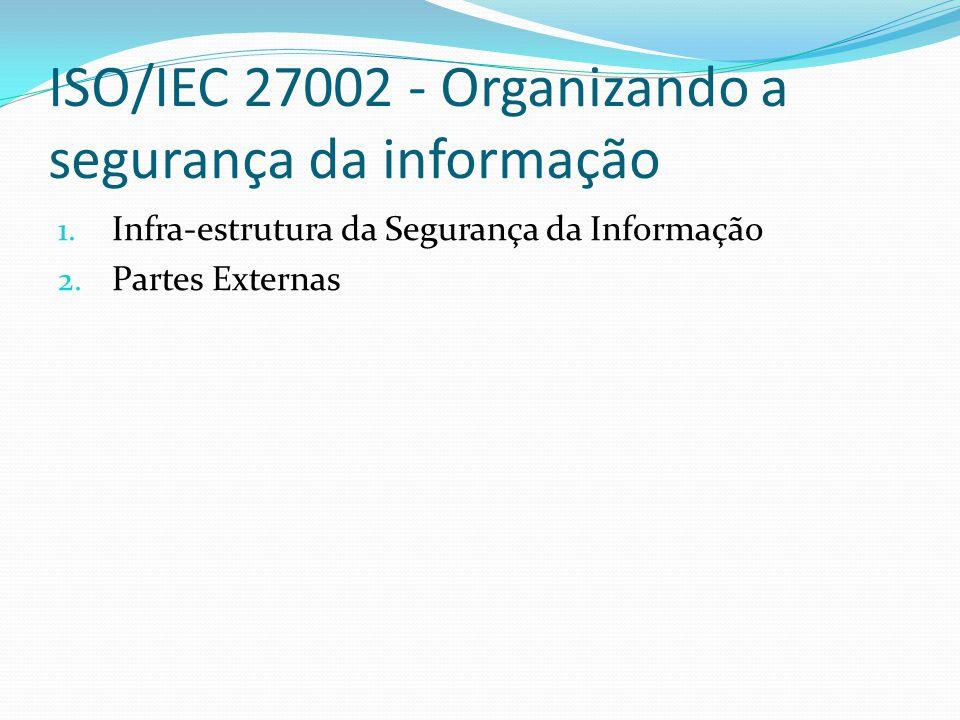 ISO/IEC 27002 - Organizando a segurança da informação 1. Infra-estrutura da Segurança da Informação 2. Partes Externas