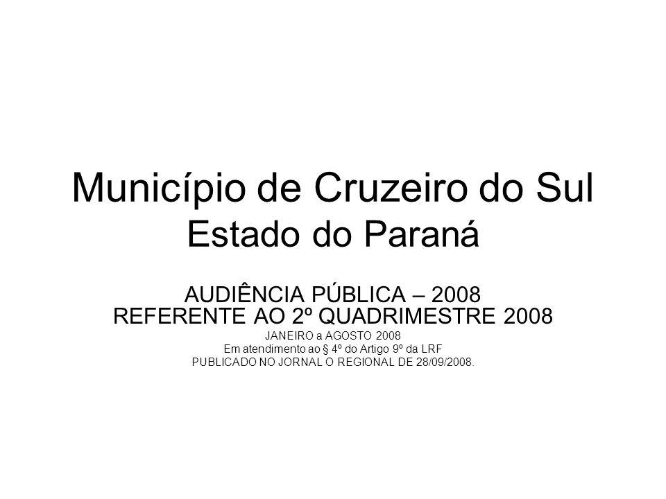Município de Cruzeiro do Sul Estado do Paraná AUDIÊNCIA PÚBLICA – 2008 REFERENTE AO 2º QUADRIMESTRE 2008 JANEIRO a AGOSTO 2008 Em atendimento ao § 4º do Artigo 9º da LRF PUBLICADO NO JORNAL O REGIONAL DE 28/09/2008.