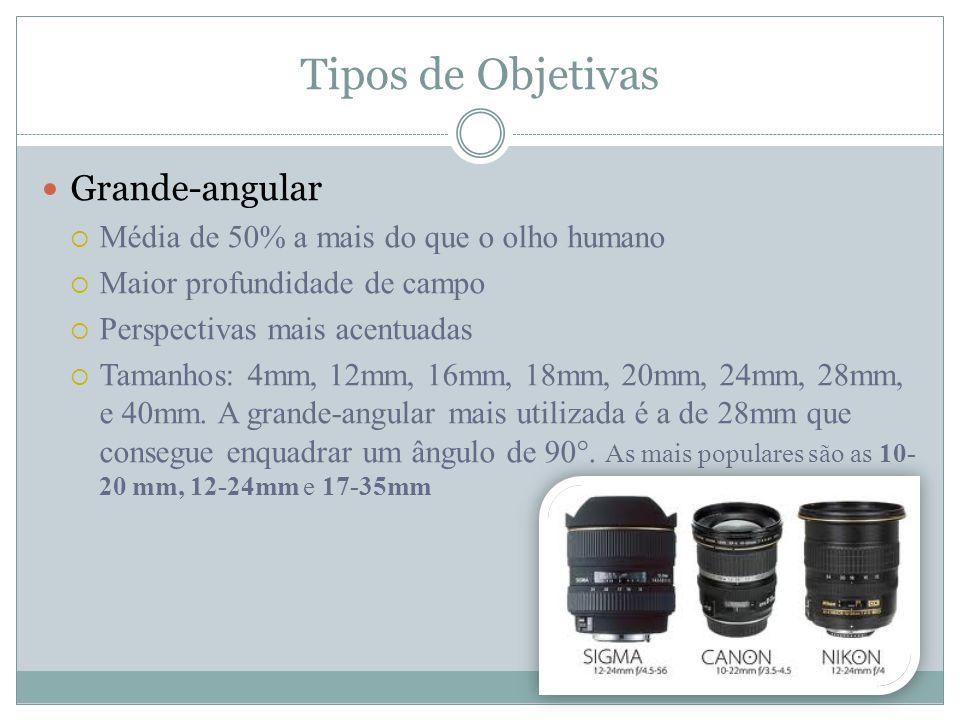 Tipos de Objetivas Grande-angular Média de 50% a mais do que o olho humano Maior profundidade de campo Perspectivas mais acentuadas Tamanhos: 4mm, 12mm, 16mm, 18mm, 20mm, 24mm, 28mm, e 40mm.