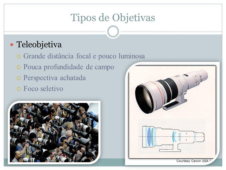 Tipos de Objetivas Teleobjetiva Grande distância focal e pouco luminosa Pouca profundidade de campo Perspectiva achatada Foco seletivo