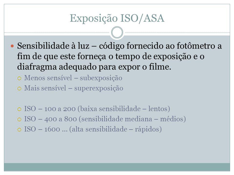 Exposição ISO/ASA Sensibilidade à luz – código fornecido ao fotômetro a fim de que este forneça o tempo de exposição e o diafragma adequado para expor o filme.