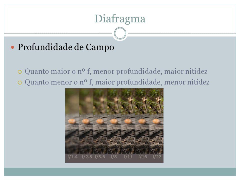Diafragma Profundidade de Campo Quanto maior o nº f, menor profundidade, maior nitidez Quanto menor o nº f, maior profundidade, menor nitidez