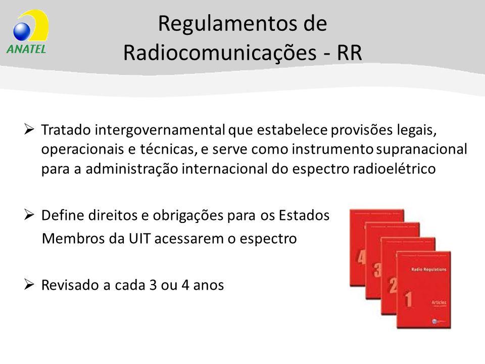 Regulamentos de Radiocomunicações - RR Tratado intergovernamental que estabelece provisões legais, operacionais e técnicas, e serve como instrumento s