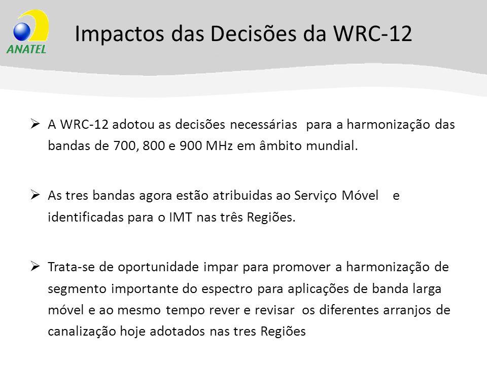 Impactos das Decisões da WRC-12 A WRC-12 adotou as decisões necessárias para a harmonização das bandas de 700, 800 e 900 MHz em âmbito mundial. As tre