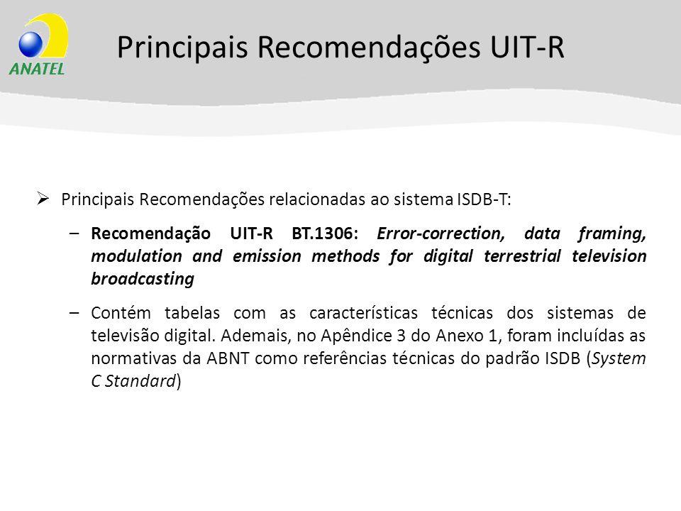 Principais Recomendações UIT-R Principais Recomendações relacionadas ao sistema ISDB-T: –Recomendação UIT-R BT.1306: Error-correction, data framing, m