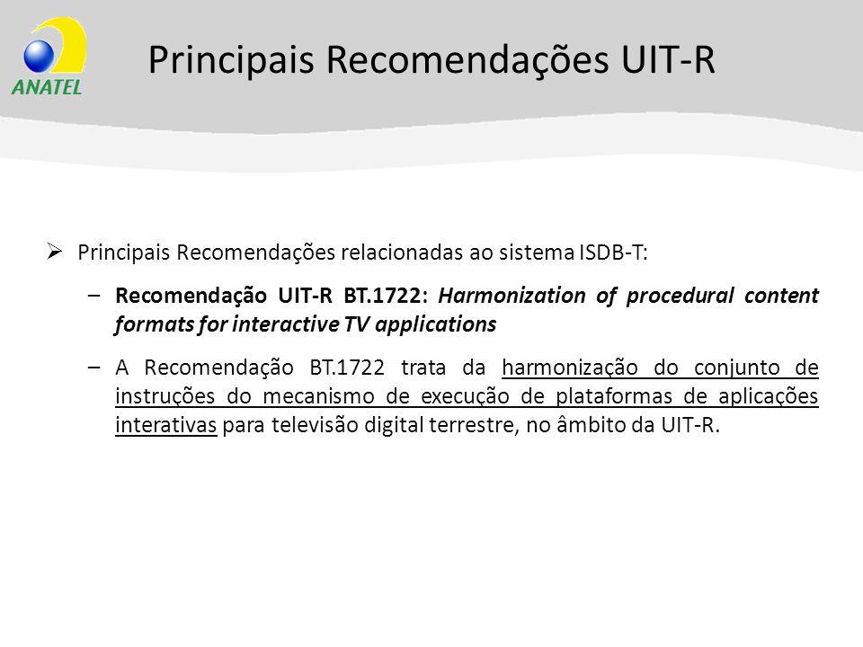 Principais Recomendações UIT-R Principais Recomendações relacionadas ao sistema ISDB-T: –Recomendação UIT-R BT.1722: Harmonization of procedural conte