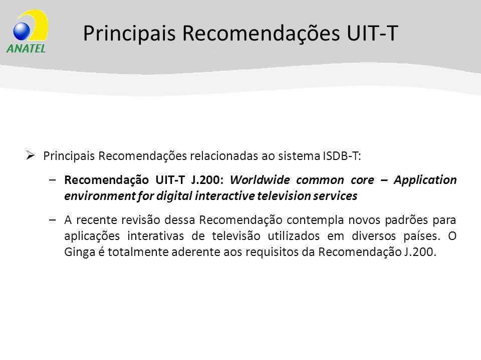 Principais Recomendações UIT-T Principais Recomendações relacionadas ao sistema ISDB-T: –Recomendação UIT-T J.200: Worldwide common core – Application