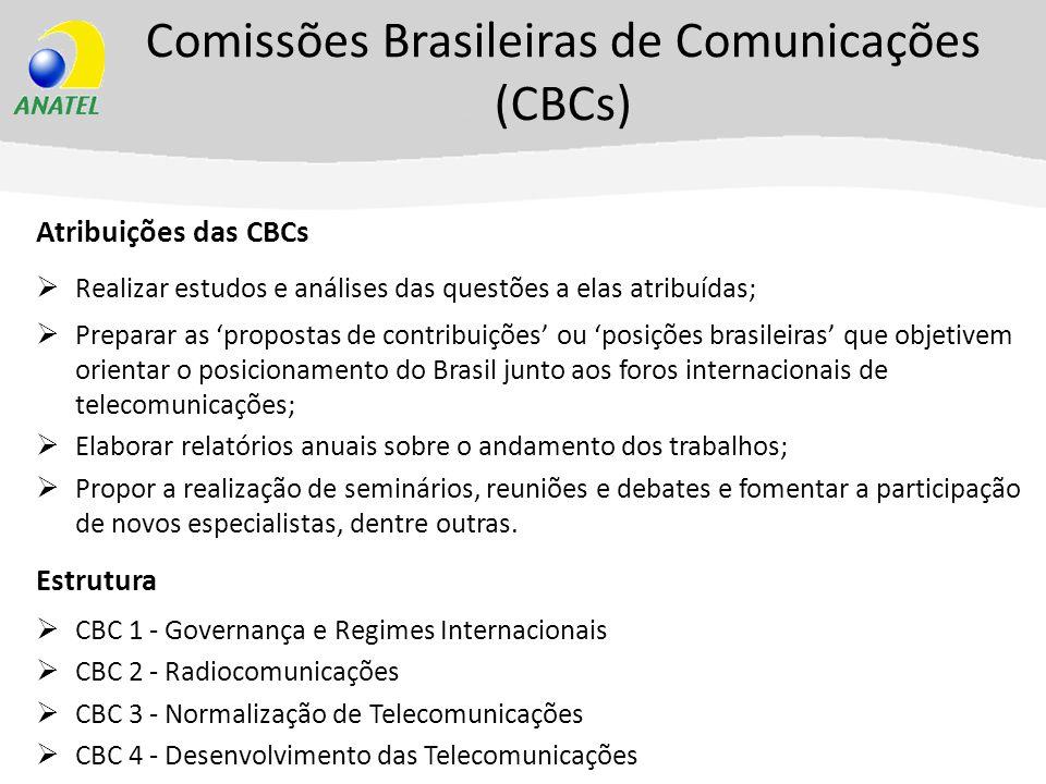 Comissões Brasileiras de Comunicações (CBCs) Atribuições das CBCs Realizar estudos e análises das questões a elas atribuídas; Preparar as propostas de