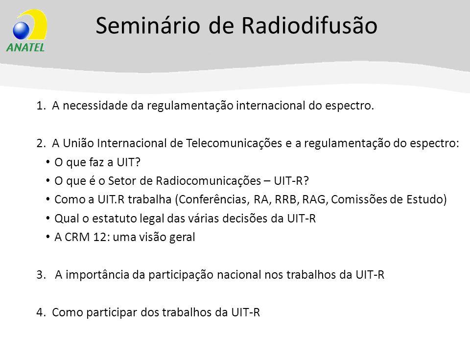 Seminário de Radiodifusão 1. A necessidade da regulamentação internacional do espectro. 2. A União Internacional de Telecomunicações e a regulamentaçã