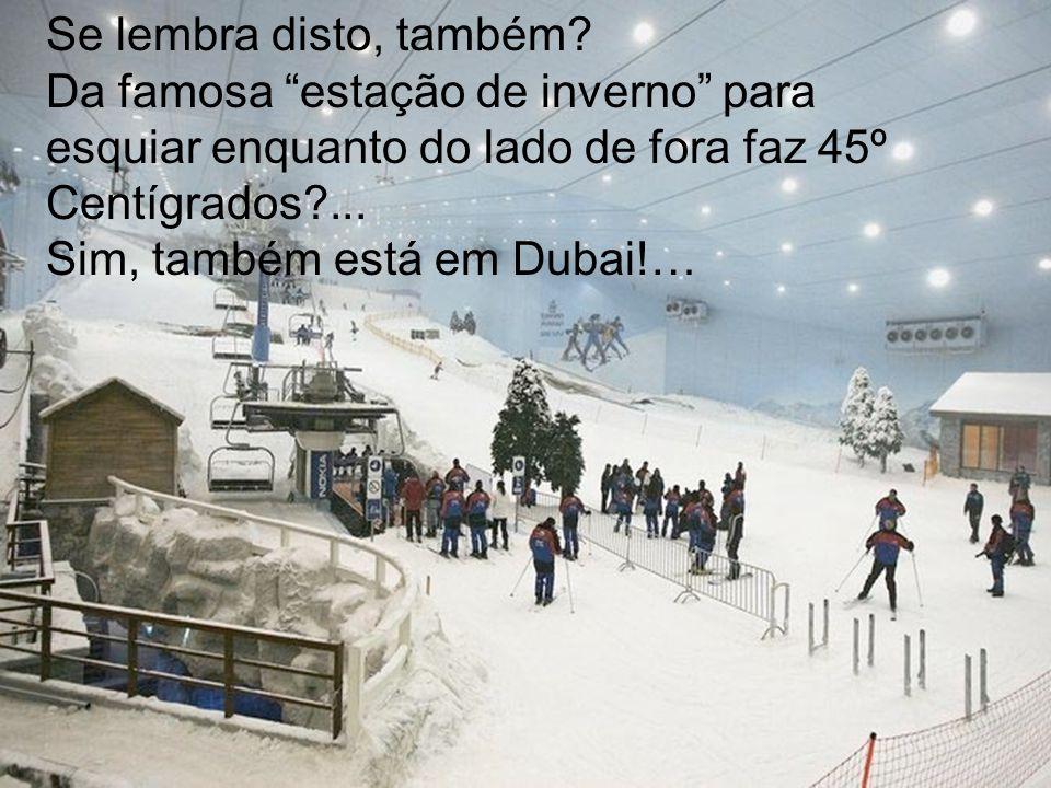 Se lembra disto, também? Da famosa estação de inverno para esquiar enquanto do lado de fora faz 45º Centígrados?... Sim, também está em Dubai!…