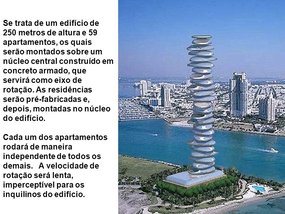 Se trata de um edifício de 250 metros de altura e 59 apartamentos, os quais serão montados sobre um núcleo central construído em concreto armado, que