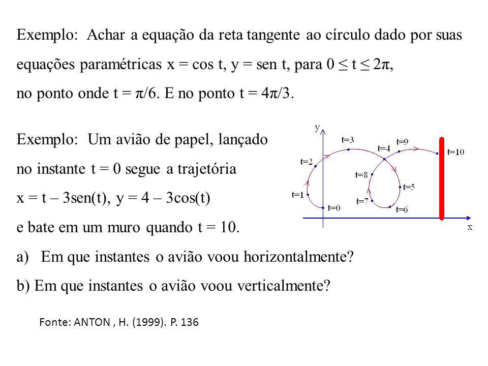 Exemplo: Achar a equação da reta tangente ao círculo dado por suas equações paramétricas x = cos t, y = sen t, para 0 t 2π, no ponto onde t = π/6. E n