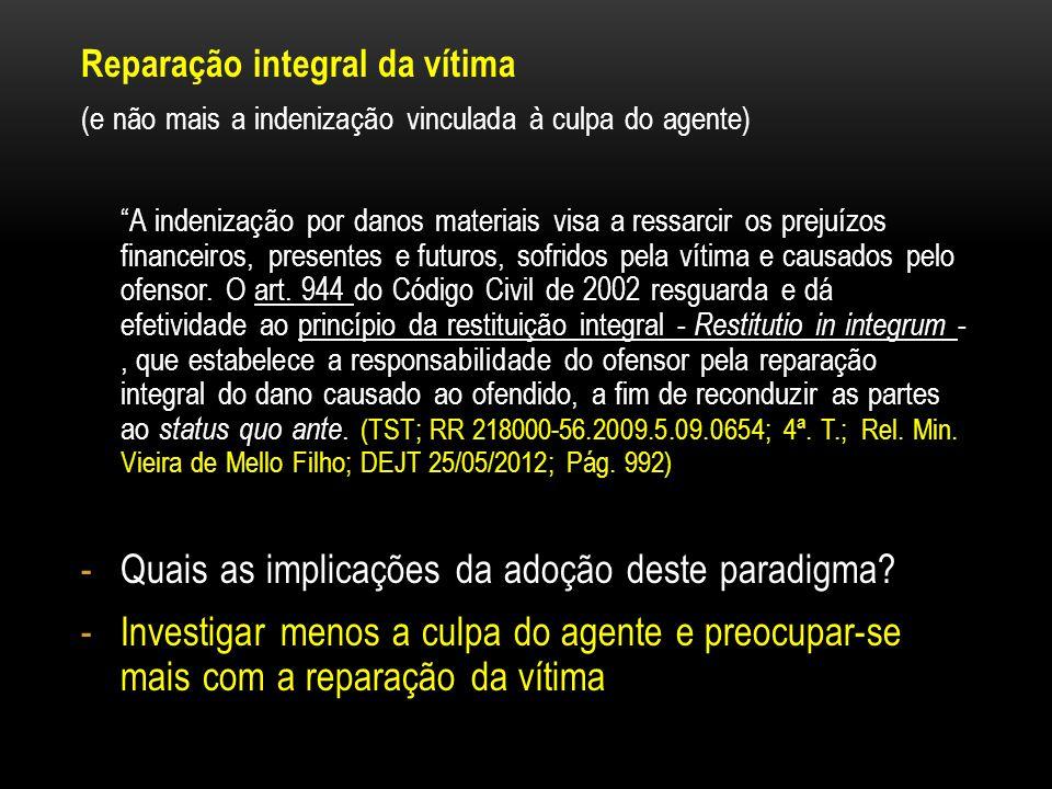 Reparação integral da vítima (e não mais a indenização vinculada à culpa do agente) A indenização por danos materiais visa a ressarcir os prejuízos fi