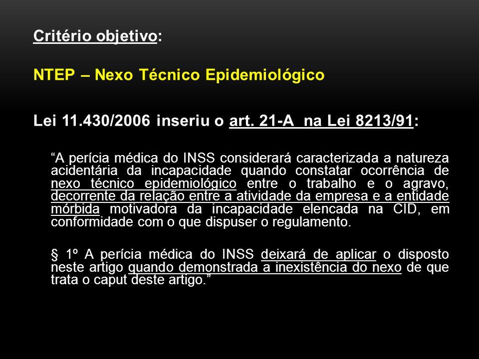 Critério objetivo: NTEP – Nexo Técnico Epidemiológico Lei 11.430/2006 inseriu o art. 21-A na Lei 8213/91: A perícia médica do INSS considerará caracte