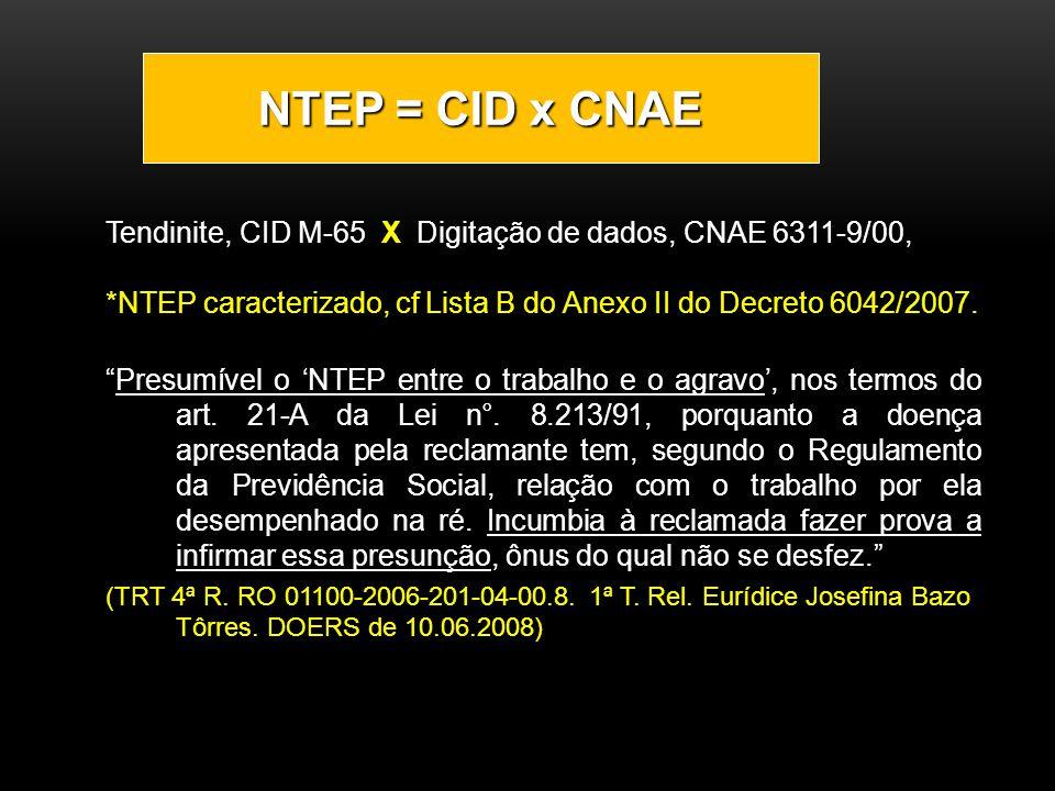 Tendinite, CID M-65 X Digitação de dados, CNAE 6311-9/00, *NTEP caracterizado, cf Lista B do Anexo II do Decreto 6042/2007. Presumível o NTEP entre o