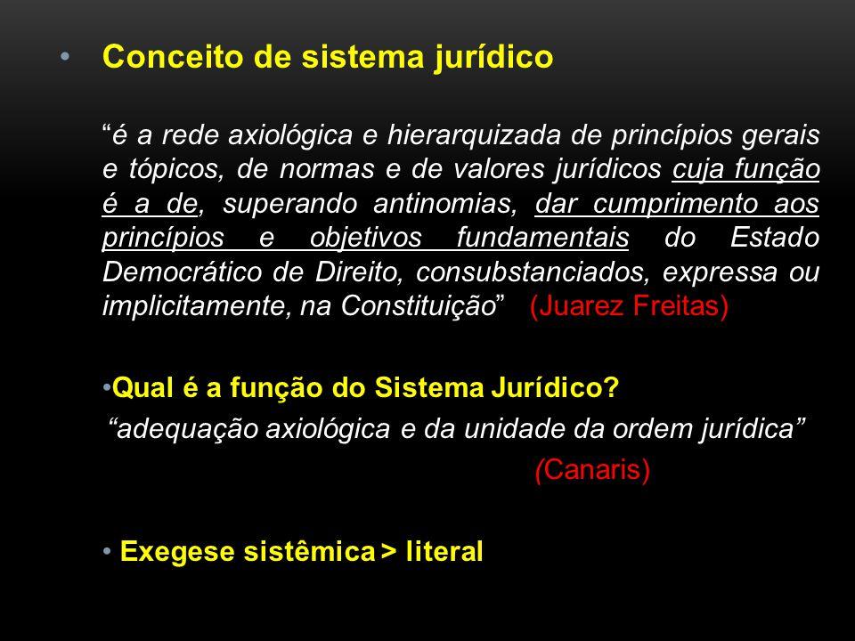 Conceito de sistema jurídico é a rede axiológica e hierarquizada de princípios gerais e tópicos, de normas e de valores jurídicos cuja função é a de,