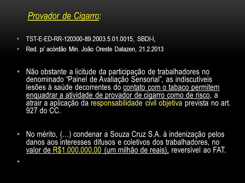 Provador de Cigarro: TST-E-ED-RR-120300-89.2003.5.01.0015, SBDI-I, Red. p/ acórdão Min. João Oreste Dalazen, 21.2.2013 Não obstante a licitude da part