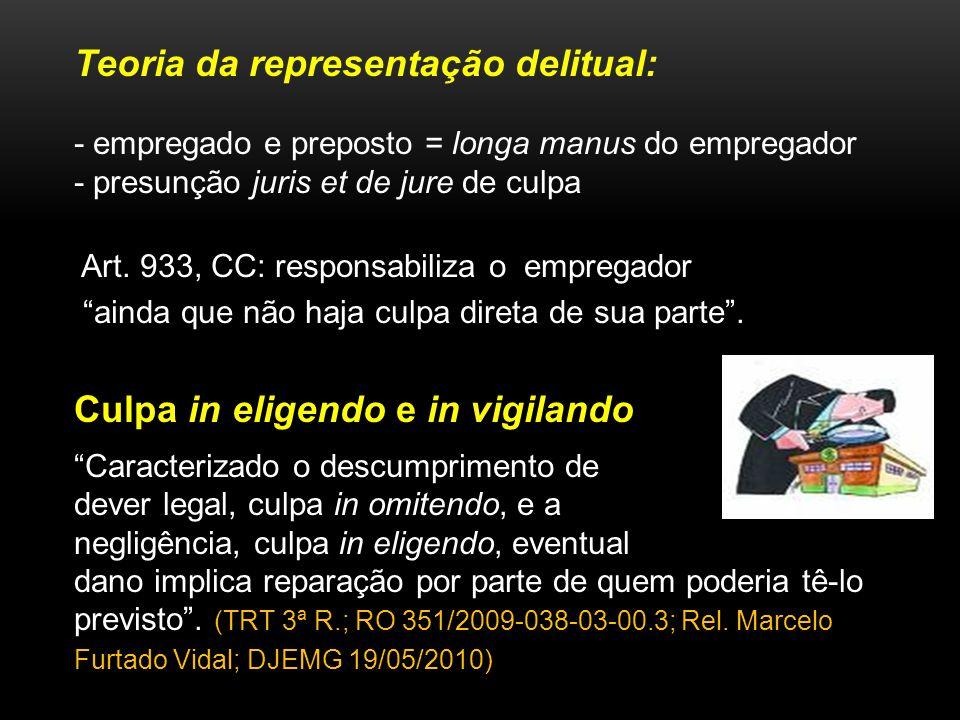 Teoria da representação delitual: - empregado e preposto = longa manus do empregador - presunção juris et de jure de culpa Art. 933, CC: responsabiliz