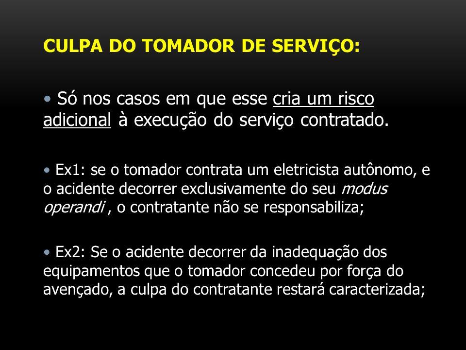 CULPA DO TOMADOR DE SERVIÇO: Só nos casos em que esse cria um risco adicional à execução do serviço contratado. Ex1: se o tomador contrata um eletrici