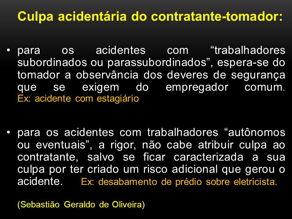 Culpa acidentária do contratante-tomador: para os acidentes com trabalhadores subordinados ou parassubordinados, espera-se do tomador a observância do