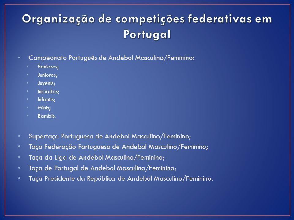 Campeonato Português de Andebol Masculino/Feminino: Seniores; Juniores; Juvenis; Iniciados; Infantis; Minis; Bambis. Supertaça Portuguesa de Andebol M