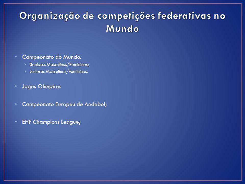 Campeonato do Mundo: Seniores Masculinos/Femininos; Juniores Masculinos/Femininos. Jogos Olímpicos Campeonato Europeu de Andebol; EHF Champions League