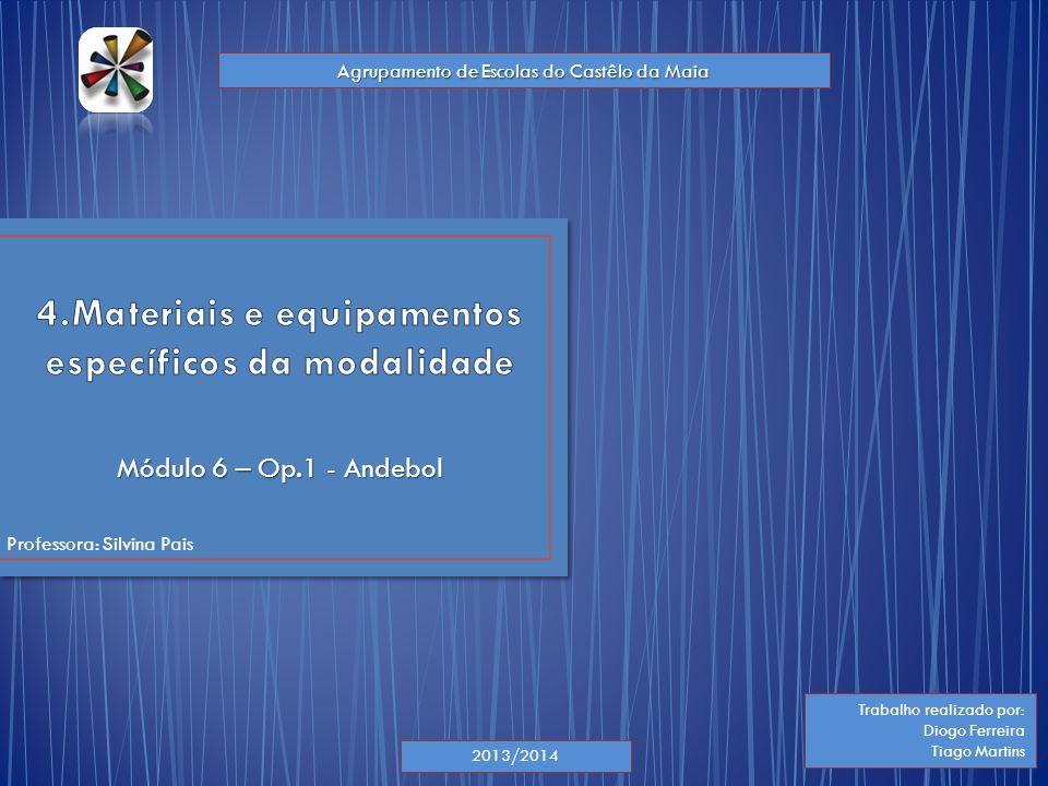 Módulo 6 – Op.1 - Andebol Professora: Silvina Pais 2013/2014 Trabalho realizado por: Diogo Ferreira Tiago Martins Agrupamento de Escolas do Castêlo da
