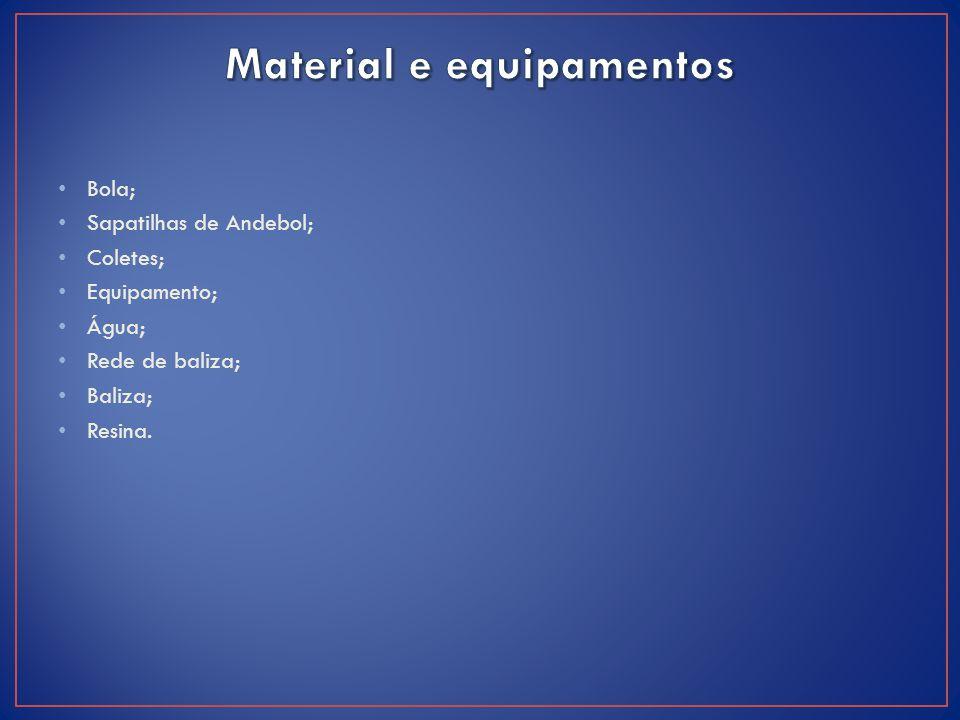 Bola; Sapatilhas de Andebol; Coletes; Equipamento; Água; Rede de baliza; Baliza; Resina.