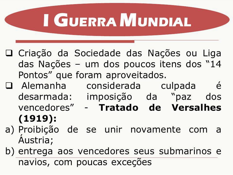 Criação da Sociedade das Nações ou Liga das Nações – um dos poucos itens dos 14 Pontos que foram aproveitados.