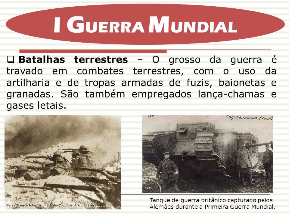 Batalhas terrestres – O grosso da guerra é travado em combates terrestres, com o uso da artilharia e de tropas armadas de fuzis, baionetas e granadas.
