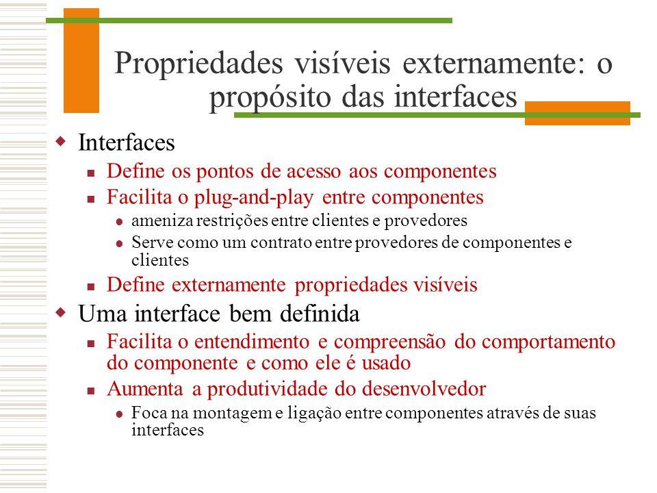 Propriedades visíveis externamente: o propósito das interfaces Interfaces Define os pontos de acesso aos componentes Facilita o plug-and-play entre co