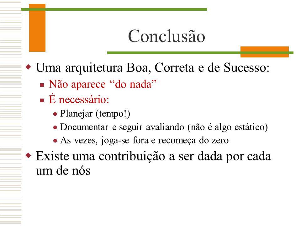 Conclusão Uma arquitetura Boa, Correta e de Sucesso: Não aparece do nada É necessário: Planejar (tempo!) Documentar e seguir avaliando (não é algo est
