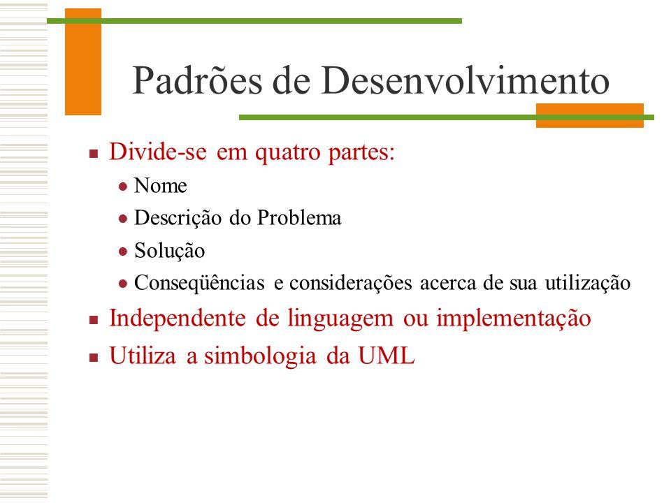Padrões de Desenvolvimento Divide-se em quatro partes: Nome Descrição do Problema Solução Conseqüências e considerações acerca de sua utilização Indep