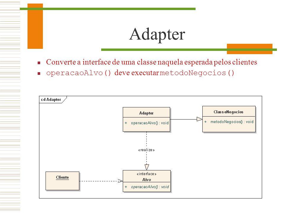 Adapter Converte a interface de uma classe naquela esperada pelos clientes operacaoAlvo() deve executar metodoNegocios()