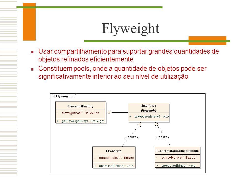 Flyweight Usar compartilhamento para suportar grandes quantidades de objetos refinados eficientemente Constituem pools, onde a quantidade de objetos p