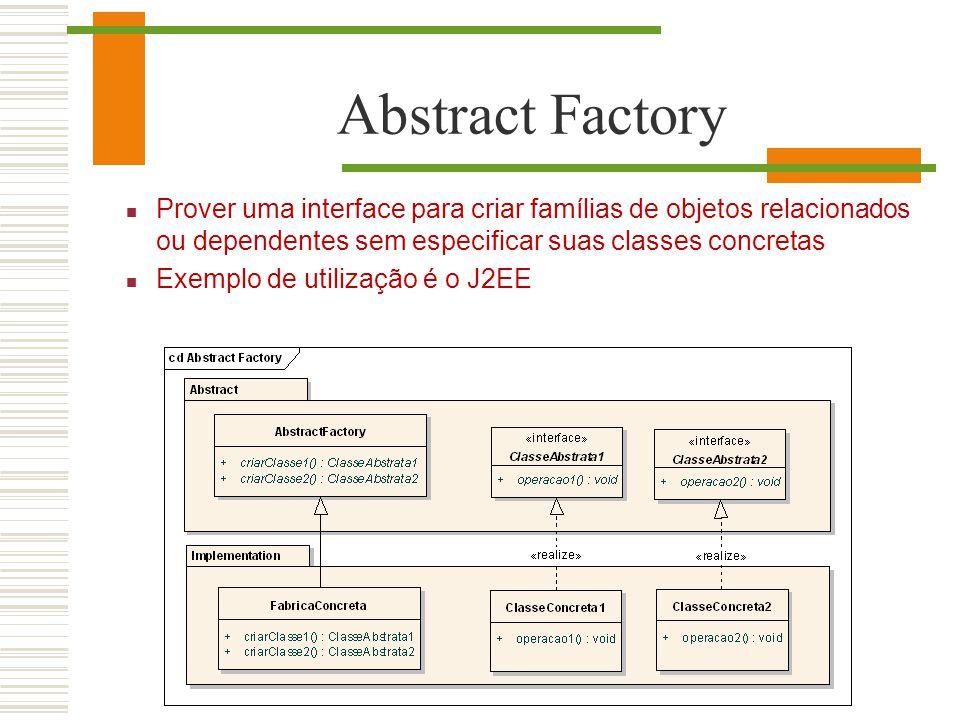 Abstract Factory Prover uma interface para criar famílias de objetos relacionados ou dependentes sem especificar suas classes concretas Exemplo de uti