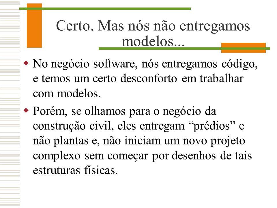 Certo. Mas nós não entregamos modelos... No negócio software, nós entregamos código, e temos um certo desconforto em trabalhar com modelos. Porém, se