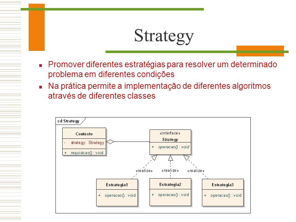 Strategy Promover diferentes estratégias para resolver um determinado problema em diferentes condições Na prática permite a implementação de diferente