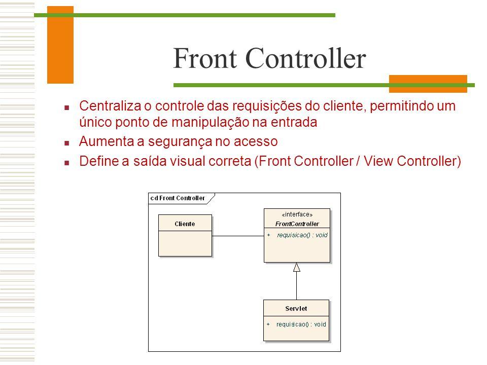 Front Controller Centraliza o controle das requisições do cliente, permitindo um único ponto de manipulação na entrada Aumenta a segurança no acesso D