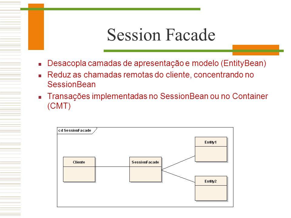 Session Facade Desacopla camadas de apresentação e modelo (EntityBean) Reduz as chamadas remotas do cliente, concentrando no SessionBean Transações im