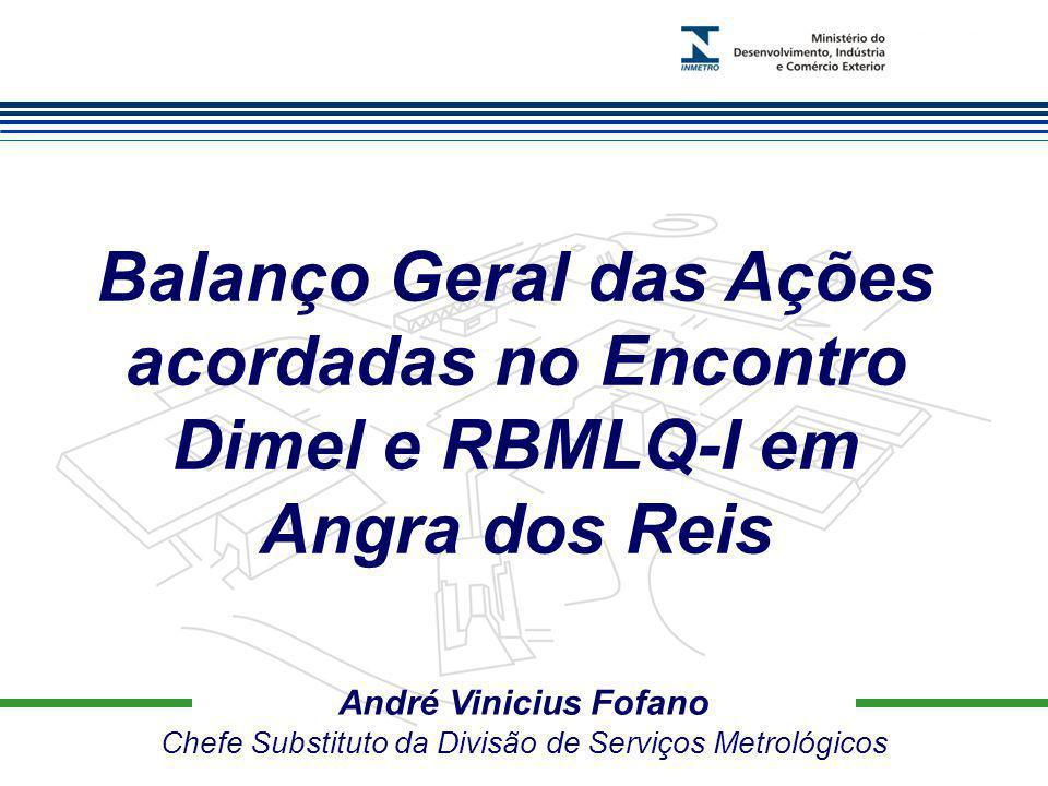 Marca do evento André Vinicius Fofano Chefe Substituto da Divisão de Serviços Metrológicos Balanço Geral das Ações acordadas no Encontro Dimel e RBMLQ