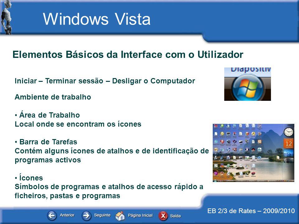 EB 2/3 de Rates – 2009/2010 Elementos Básicos da Interface com o Utilizador Iniciar – Terminar sessão – Desligar o Computador Ambiente de trabalho Áre